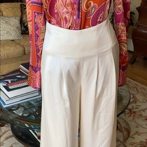 Chanel silk palazzo pants in cream color